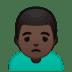 🙍🏿♂️ man frowning: dark skin tone Emoji on Google Platform