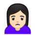 🙍🏻‍♀️ woman frowning: light skin tone Emoji on Google Platform