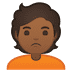 🙎🏾 person pouting: medium-dark skin tone Emoji on Google Platform