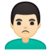 🙎🏻‍♂️ man pouting: light skin tone Emoji on Google Platform