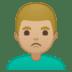 🙎🏼♂️ man pouting: medium-light skin tone Emoji on Google Platform