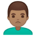 🙎🏽♂️ man pouting: medium skin tone Emoji on Google Platform