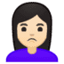 🙎🏻‍♀️ woman pouting: light skin tone Emoji on Google Platform