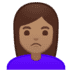 🙎🏽‍♀️ woman pouting: medium skin tone Emoji on Google Platform