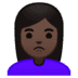 🙎🏿‍♀️ woman pouting: dark skin tone Emoji on Google Platform
