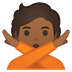 🙅🏾 person gesturing NO: medium-dark skin tone Emoji on Google Platform