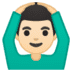 🙆🏻♂️ man gesturing OK: light skin tone Emoji on Google Platform