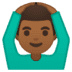 🙆🏾‍♂️ man gesturing OK: medium-dark skin tone Emoji on Google Platform
