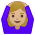 🙆🏼‍♀️ woman gesturing OK: medium-light skin tone Emoji on Google Platform