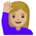 🙋🏼‍♀️ woman raising hand: medium-light skin tone Emoji on Google Platform