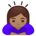 🙇🏽‍♀️ woman bowing: medium skin tone Emoji on Google Platform