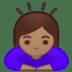 🙇🏽♀️ woman bowing: medium skin tone Emoji on Google Platform