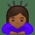 🙇🏾♀️ woman bowing: medium-dark skin tone Emoji on Google Platform