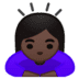 🙇🏿‍♀️ woman bowing: dark skin tone Emoji on Google Platform