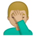 🤦🏼‍♂️ man facepalming: medium-light skin tone Emoji on Google Platform