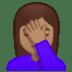 🤦🏽♀️ woman facepalming: medium skin tone Emoji on Google Platform
