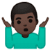 🤷🏿♂️ man shrugging: dark skin tone Emoji on Google Platform