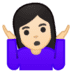 🤷🏻‍♀️ woman shrugging: light skin tone Emoji on Google Platform
