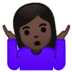 🤷🏿‍♀️ woman shrugging: dark skin tone Emoji on Google Platform
