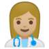 👩🏼‍⚕️ woman health worker: medium-light skin tone Emoji on Google Platform