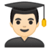 👨🏻‍🎓 man student: light skin tone Emoji on Google Platform