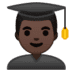 👨🏿‍🎓 man student: dark skin tone Emoji on Google Platform