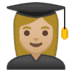 👩🏼‍🎓 woman student: medium-light skin tone Emoji on Google Platform