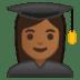 👩🏾🎓 woman student: medium-dark skin tone Emoji on Google Platform