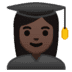 👩🏿‍🎓 woman student: dark skin tone Emoji on Google Platform