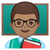 👨🏽🏫 man teacher: medium skin tone Emoji on Google Platform