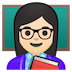 👩🏻‍🏫 woman teacher: light skin tone Emoji on Google Platform