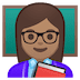 👩🏽‍🏫 woman teacher: medium skin tone Emoji on Google Platform