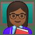 👩🏾🏫 woman teacher: medium-dark skin tone Emoji on Google Platform