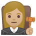 👩🏼‍⚖️ woman judge: medium-light skin tone Emoji on Google Platform