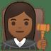 👩🏾⚖️ Medium Dark Skin Tone Female Judge Emoji on Google Platform
