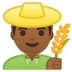 👨🏾‍🌾 man farmer: medium-dark skin tone Emoji on Google Platform