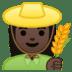 👩🏿🌾 woman farmer: dark skin tone Emoji on Google Platform
