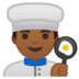 👨🏾‍🍳 man cook: medium-dark skin tone Emoji on Google Platform
