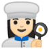 👩🏻‍🍳 woman cook: light skin tone Emoji on Google Platform