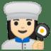 👩🏻🍳 woman cook: light skin tone Emoji on Google Platform