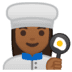 👩🏾‍🍳 woman cook: medium-dark skin tone Emoji on Google Platform