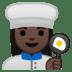 👩🏿🍳 Dark Skin Tone Female Chef Emoji on Google Platform