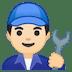 👨🏻🔧 man mechanic: light skin tone Emoji on Google Platform