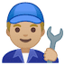 👨🏼‍🔧 man mechanic: medium-light skin tone Emoji on Google Platform