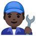👨🏿‍🔧 man mechanic: dark skin tone Emoji on Google Platform