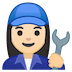 👩🏻🔧 woman mechanic: light skin tone Emoji on Google Platform
