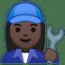 👩🏿🔧 Dark Skin Tone Female Mechanic Emoji on Google Platform