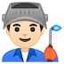 👨🏻‍🏭 man factory worker: light skin tone Emoji on Google Platform