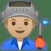 👨🏼🏭 man factory worker: medium-light skin tone Emoji on Google Platform