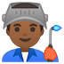 👨🏾‍🏭 man factory worker: medium-dark skin tone Emoji on Google Platform